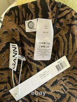GANNI Brown Georgette Animal Tiger Print Maxi Skirt, UK 10, EU 38, BNWT £300