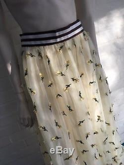 GANNI Women's Bliss embellished tulle maxi skirt 2018 Size D 36 UK 10 US 6
