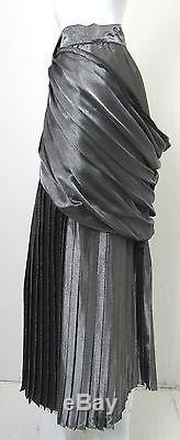 GIANNI VERSACE Vintage 1980s Silver Metallic Pleated/Draped Maxi Skirt 42 US 4-6