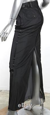 GUCCI Womens Black & Gray Layered Sheer-Mesh Back-Slit Long Maxi Skirt 2-38
