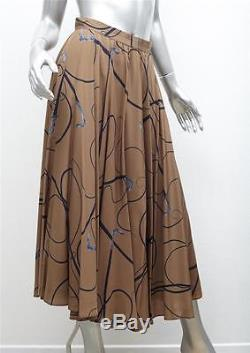 GUCCI Womens VINTAGE Brown Cane Whip Print Silk Full Pleated Long Maxi Skirt S