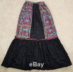 GYPSY 05 VARENKA PEASANT SKIRT $270 Black Lace Silk Embroidered Boho Long Maxi