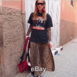 Ganni Leopard Animal Print Olivet Mesh Maxi Dress Xs 6 Maternity Long Skirt