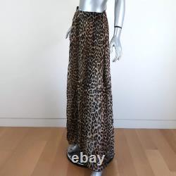 Ganni Maxi Skirt Leopard Print Pleated Sheer Georgette Size 36