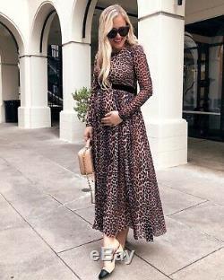 Ganni Olivet Mesh Leopard Animal Print Maxi Leo Dress S 8 Maternity Long Skirt