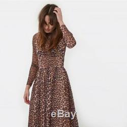 Ganni Tilden Mesh Leopard Animal Print Maxi Leo Dress 10 M Maternity Long Skirt