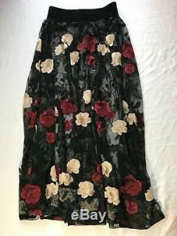 Ganni skirt floral embroidered tulle velvet waistband size FR38 UK10 US6 Simmons