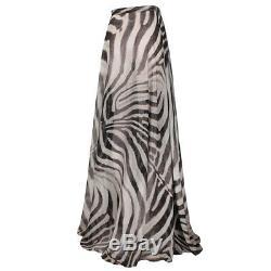 Giambattista Valli Zebra Print Silk Chiffon Full Length Maxi Skirt IT40 UK8