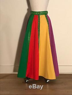Giorgio Sant Angelo 1970s Green Leather Trim Colorblock Maxi Skirt Long XS