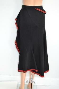 Givenchy Black Wool Ruffle Red Stripe Trim Skirt Size 42/US 6