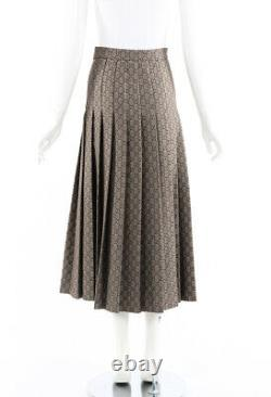 Gucci Skirt Brown GG Monogram Wool Pleated Maxi SZ 36