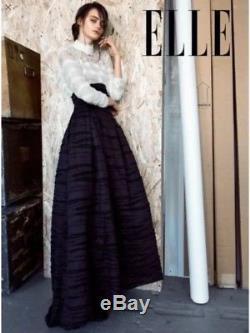 H&M CONSCIOUS Linen Silk Long Evening Skirt High Waist Pleats Maxi Black Organic