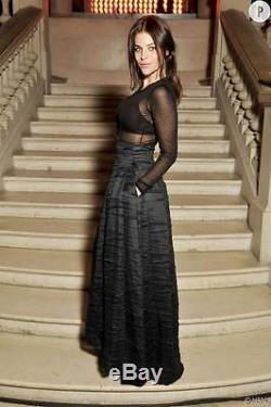 H&M Conscious Exclusive Collection Silk Linen Navy Full Long Maxi Skirt 8 10 12