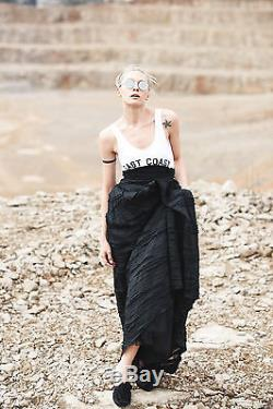 H&M Conscious Exclusive Collection Silk Linen Navy Full Long Maxi Skirt UK 10 12