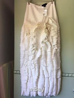 H&M, Eddy Anemian Capsule Collection, Tiered Ruffle Maxi Skirt, White, US/4