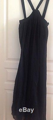 H&M Studio 2017 Black Maxi Long Silk Chiffon Skirt With Straps Size eu 38 uk 12