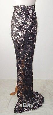 HAIDER ACKERMANN Black Laser Cut Leather Skirt 38 6