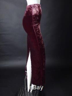 HAIDER ACKERMANN-Magenta Velvet Pencil Maxi Skirt, Size-2