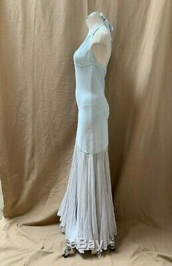 HERVE LEGER Baby Blue Bodycon Bandage Tulle Skirt Mermaid Gown Long Maxi Dress S
