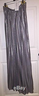 Halston Heritage Exclusive Pleated Maxi Skirt Silver Sz 4