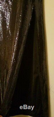 Halston Heritage Long Sequined High-Slit Maxi Skirt, Black Sz 6