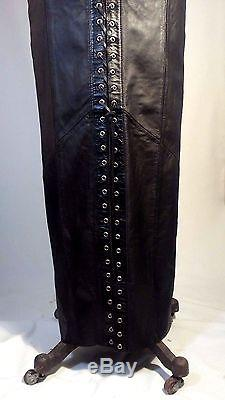 Harley Davidson VTG Black Leather Maxi Long Lace Up Skirt Size 4, 6 Small Womens