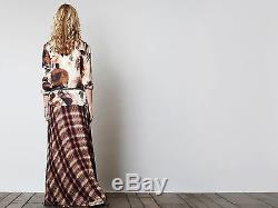 Haute Hippie Chevron Plaid Print Silk Maxi Skirt Long Evening Party $695 Size 4