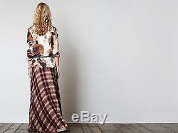 Haute Hippie Chevron Plaid Print Silk Maxi Skirt Long Evening Party $695 Size 8