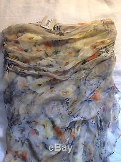 Haute Hippie Floral Silk Full Length Maxi Skirt. NWT 100% Silk. Color Buff. LRG
