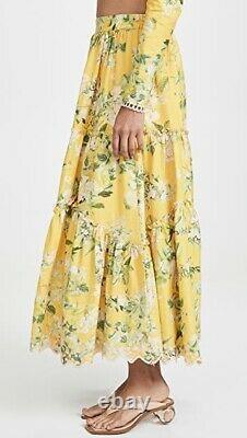 Hemant & Nandita Terra Tiered Floral Slit Midi Maxi Skirt Size Small NWT