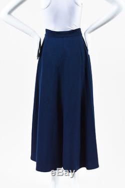 Hermes Navy Wool Brown Leather Belt High Waist Flared Maxi Skirt SZ 38