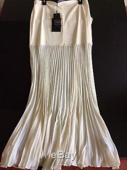 Herve Leger Bandage and Plisee Long White Skirt Size L. New with Tag
