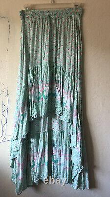 House Of Skye Jipsee Gypsy Hi Low Maxi Midi Skirt Floral Peacock S/M