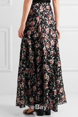 ISABEL MARANT Peace Black Metallic Red Purple Floral Silk Maxi Long Skirt 42/10