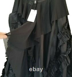 IVAN GRUNDAHL Black Ruffled Avant Garde Art To Wear Maxi Skirt 42 10/12 NWT TTCB