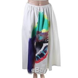 Isa Arfen 1860 Womens White Printed Stretch Long Maxi Skirt 8 BHFO