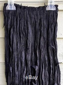 Issey Miyake Fete Black Pleat Detail Woven Upward Flutter Maxi Skirt Sz. 2
