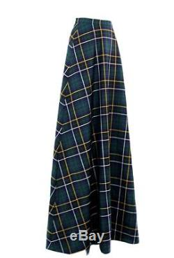 J CREW COLLECTION Long Maxi Skirt in Tartan 0 GREEN NAVY PLAID MULTI