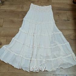 JEN'S JENS PIRATE Booty Free People Marquez Aztec White Boho Maxi Skirt M/L
