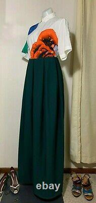JIL SANDER By RAF SIMONS Green Voluminous Box Pleated Oversize Wool Skirt US 4