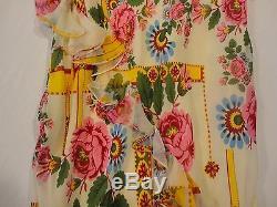 John Galliano Low Waist Silk Long Ruffled Skirt Xs
