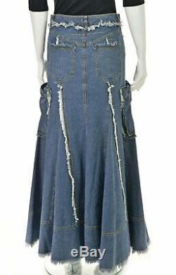 JOHN GALLIANO Maxi Length Distressed Denim Skirt SIZE FR38 / US4