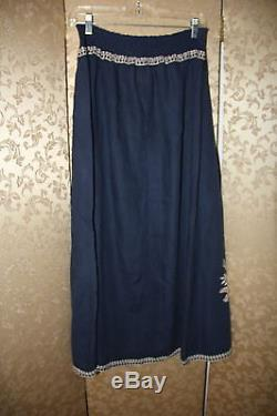 JW Los Angeles Johnny Was Navy Blue Beige Floral Embroidered Maxi Long Skirt 2X