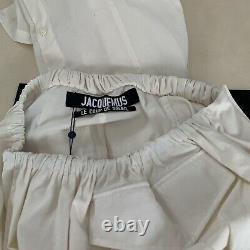 Jacquemus White Cotton-Blend High-Rise Layered Maxi Skirt. FR 36/UK 8