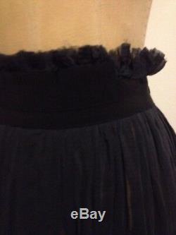 Jean Paul Gaultier Femme Navy Blue Gauze Cotton / Silk Maxi Pleat Skirt Sz 6