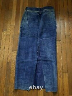 Jean Paul Gaultier Maxi Blue Belted Leather Skirt Size S-M