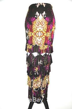 Jean Paul Gaultier Multicolor Rare Floral Straight Maxi Skirt Size 8