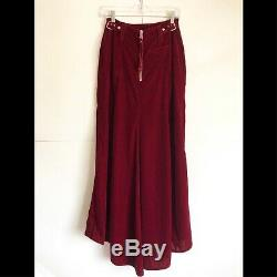 Jean Paul Gaultier Red Velvet Maxi Skirt With Silver Buckles Size 8