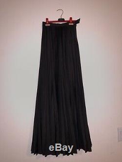 Jean Paul Gaultier Womens Long Maxi Skirt Black Wide Size XS Floor Length Crepe