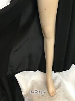 Jean paul gaultier Long Skirt Vintage Black Crêpe Long Front Slit Size 8 (42)